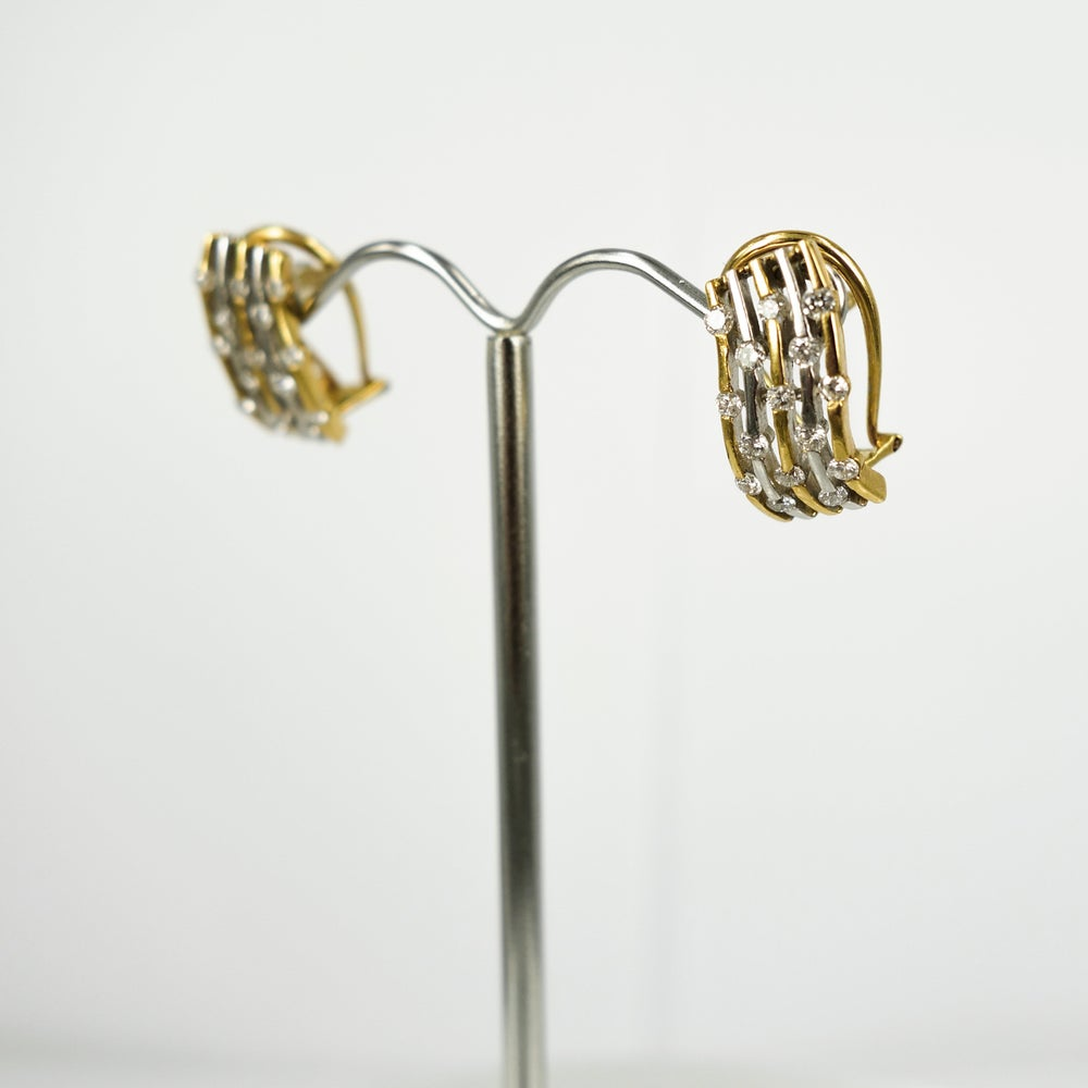 Image of Vintage yellow and white gold diamond dress earring