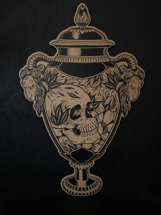 Image of Skull urn etched wall hanging - Made to order