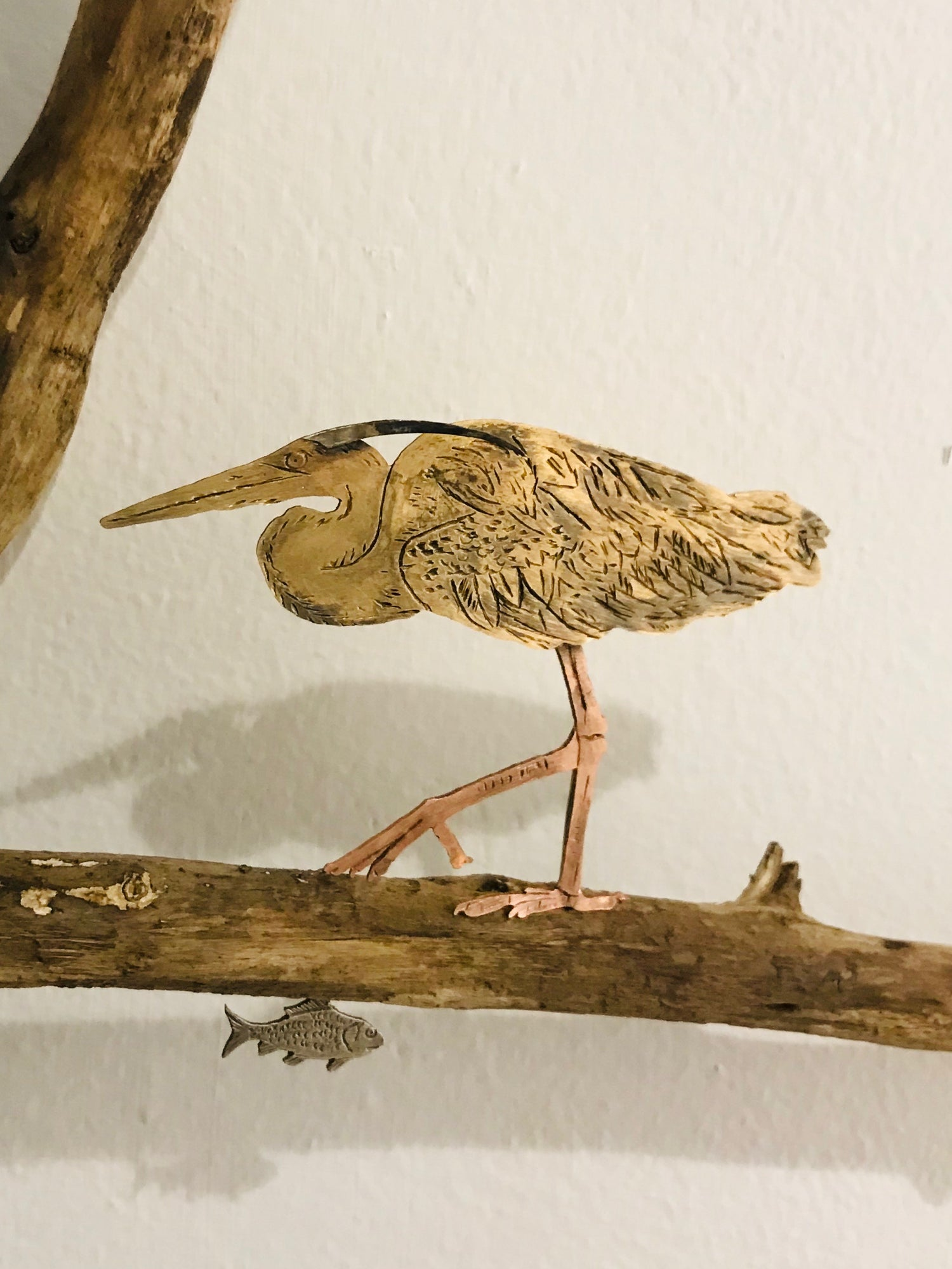 Image of Heron and Fish Sculpture 2