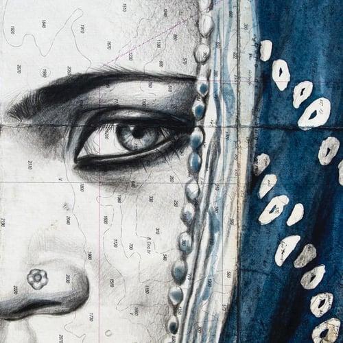 "Image of Canva Art Print - ""Dark indigo Mamta"""