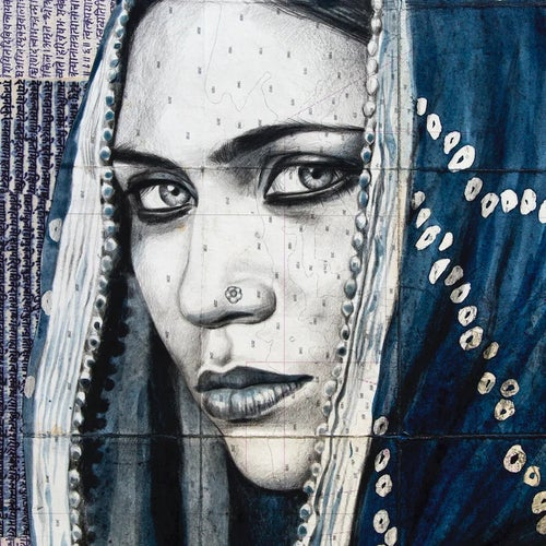"Image of Paper Art Print - ""Dark indigo Mamta"""