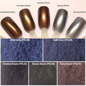 Image of Black/Brown/Gray Pearl Pigments </p> 12 Colors Available