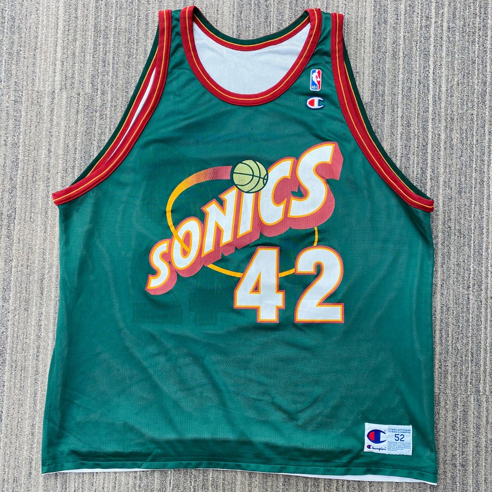 Image of Vintage Vin Baker Seattle SuperSonics Reversible Champion Jersey