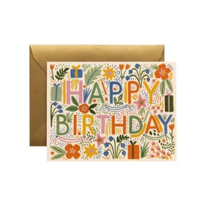 Image of CARTE DOUBLE HAPPY BIRTHDAY FIESTA (TROIS MODÈLES), RIFLE PAPER CO.