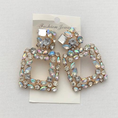 Image of Iridescent Crystal Knocker Earrings