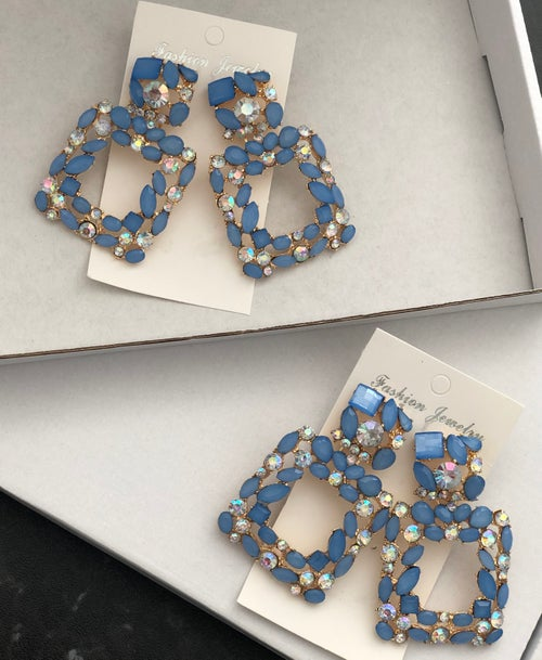 Image of Ice Blue Crystal Knocker Earrings