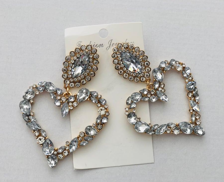 Image of Crystal Heart Earrings