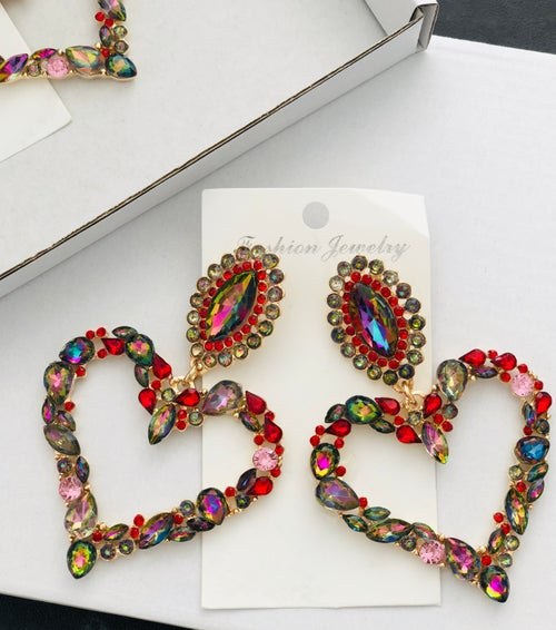 Image of Colourful Crystal Heart Earrings