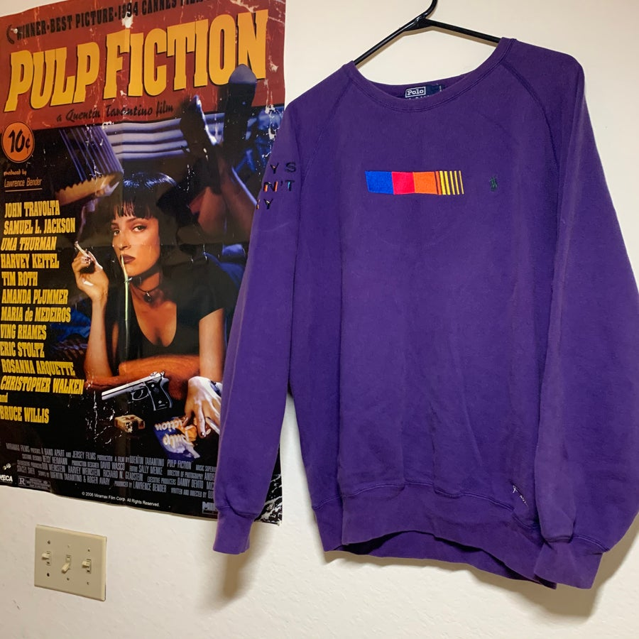Image of MEDIUM - PURPLE BOYS DON'T CRY VINTAGE RALPH LAUREN CREW NECK