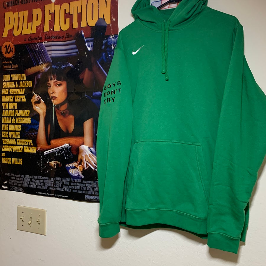 Image of XL - KELLY GREEN BOYS DON'T CRY VINTAGE NIKE HOODIE