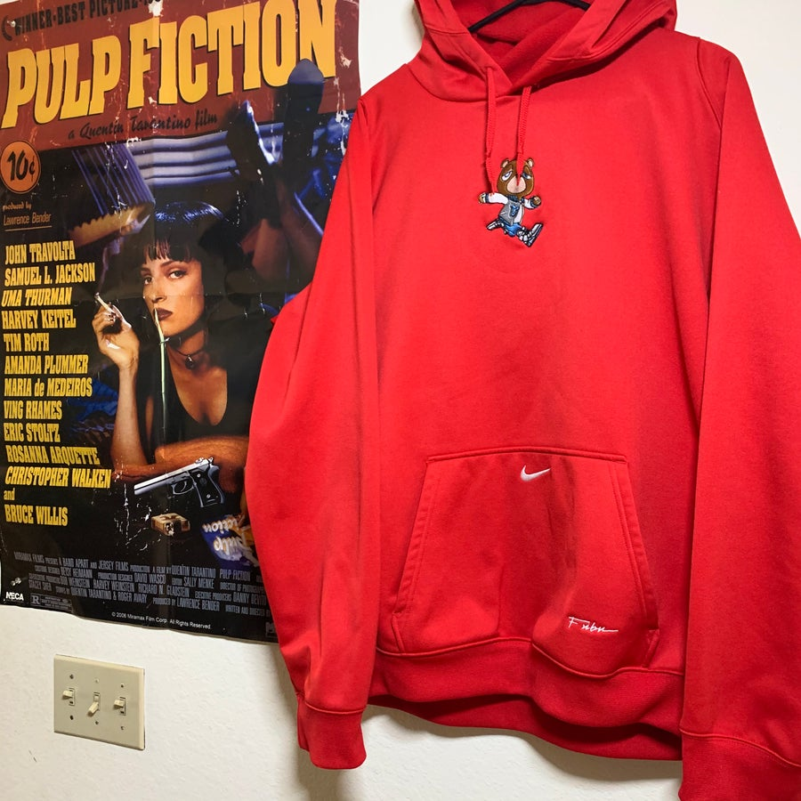 Image of XL - WHOLE LOTTA RED GRADUATION BEAR VINTAGE NIKE TECH HOODIE