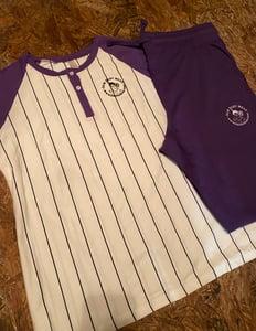 Image of Purple Baseball shortsleeved jogger set