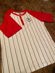 Image of Red  short sleeved baseball shirt