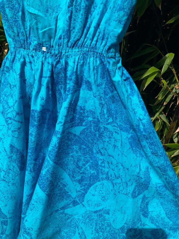 Image of Cotton sundress in aquamarine and blue with Broderie Anglaise. Age 8-10yrs.