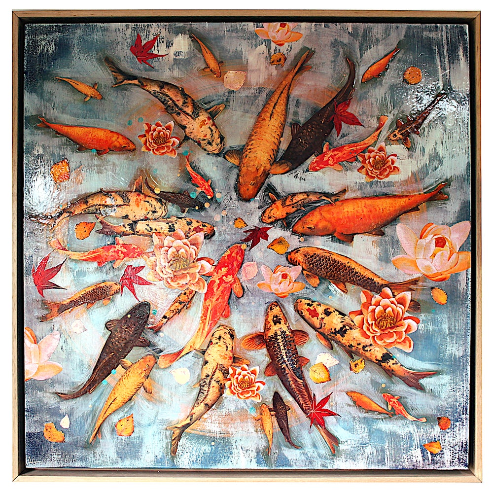 "Image of Original Canvas - Koi Pond with Lilies and Leaves - 30"" x 30"""