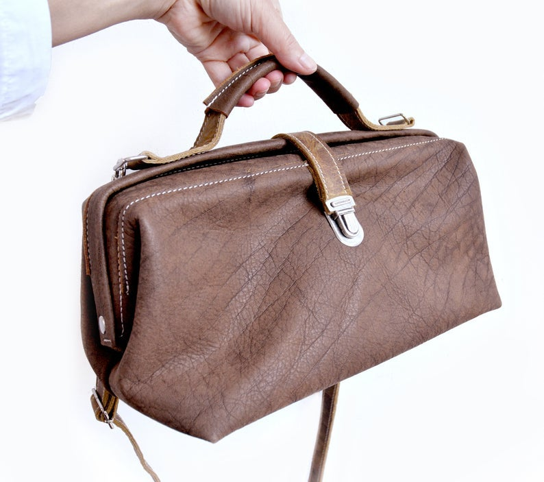 Image of Small Leather Doctor Bag, Dark Brown Leather Case