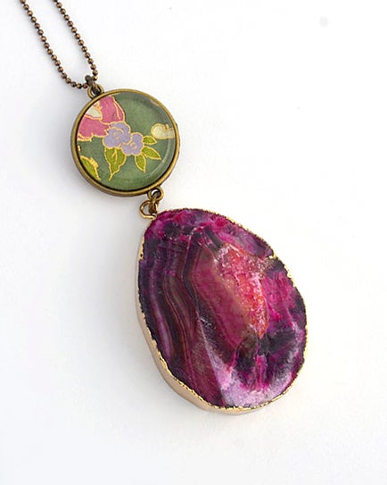 Image of double drop - fuschia druzy agate and floral pendant