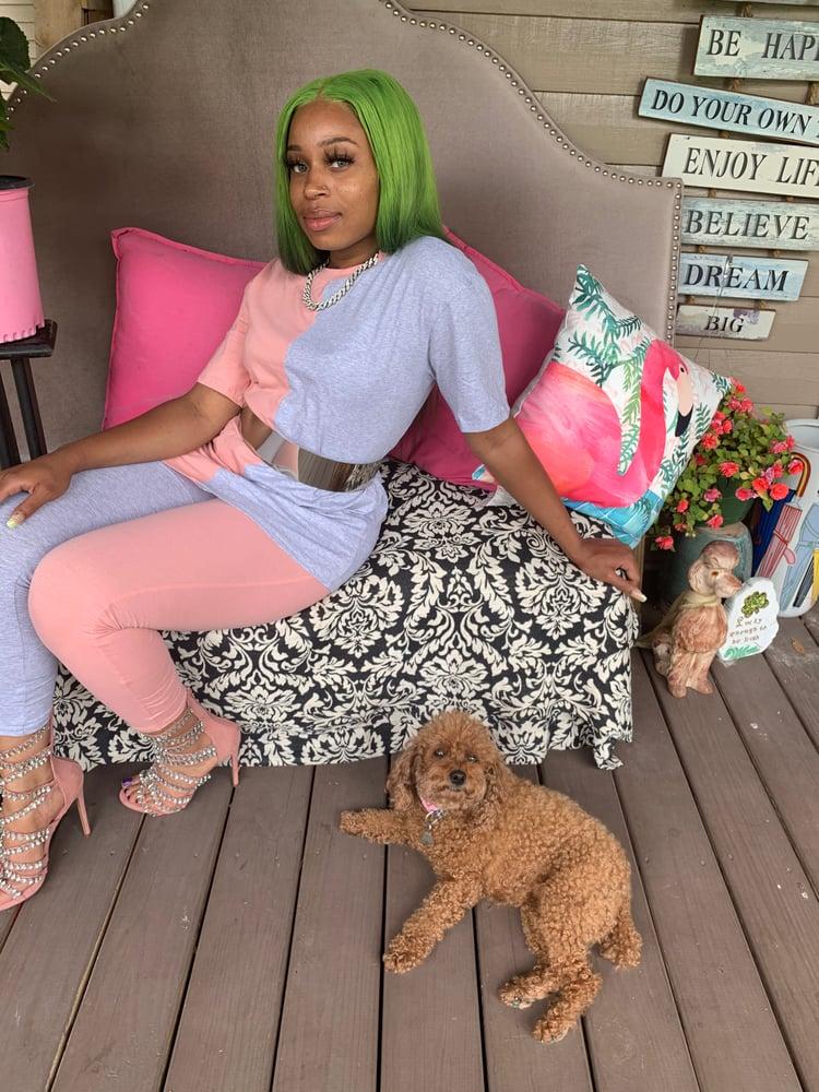 Image of Pink grey pant set