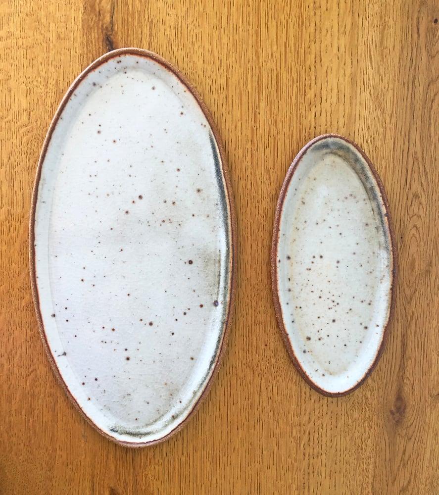 Image of Oval Plate Set / White Shino