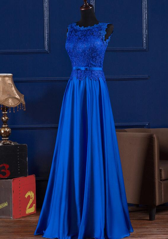 Royal Blue Satin with Lace Bodice Long Party Dress, Blue Evening Gown