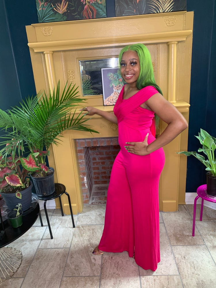 Image of Convertible Fuschia jumpsuit