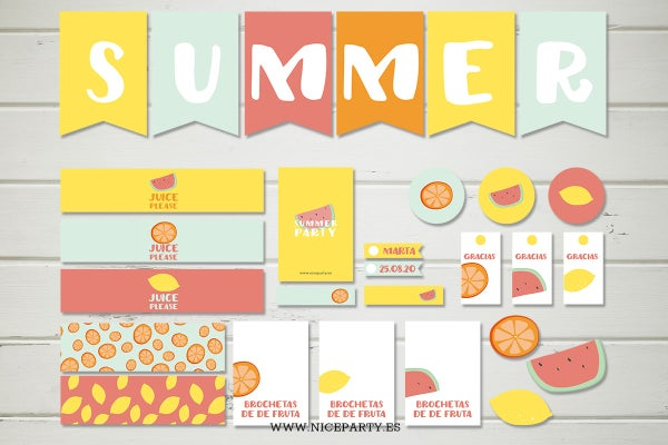 Image of Pack imprimible frutas de verano