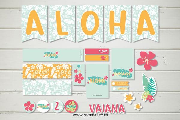 Image of Pack imprimible fiesta hawaiana