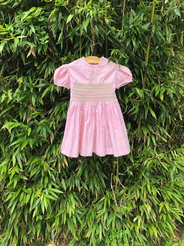 Image of Pink and white, cotton striped dress with smocking. Age 2yrs.