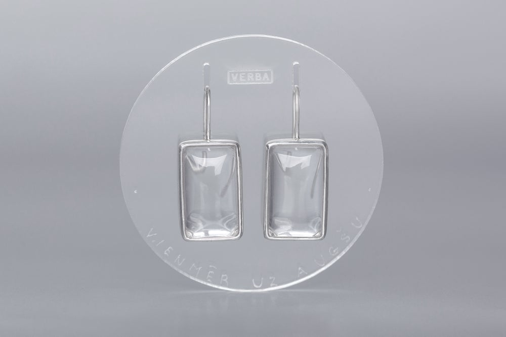 Image of silver earrings with rock crystals SEMPER IN ALTUM