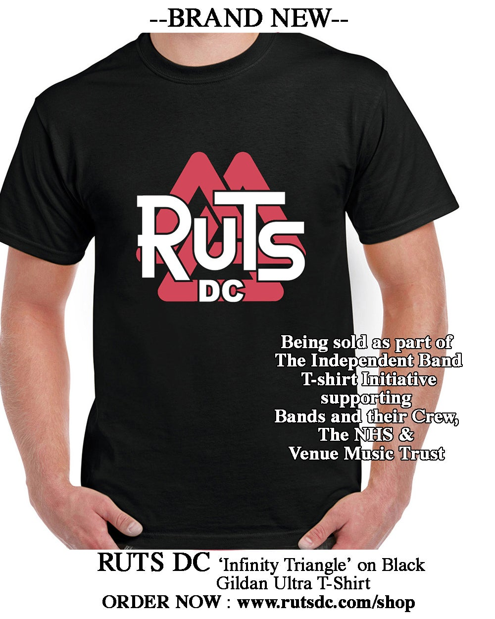 Image of BRAND NEW - RUTS DC 'Infinity Triangle' T-shirt - On BLACK