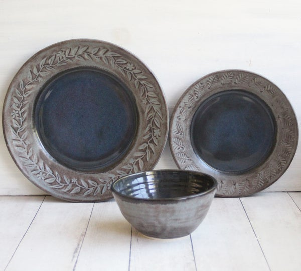 Image of Custom Order for Jeff - Two Rustic Place Settings in Charcoal and White Ocher Glazes, Made in USA