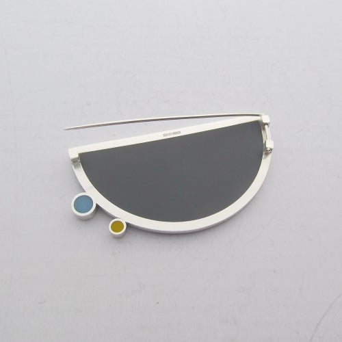 Image of Contemporary Silver and Resin Eclipse Brooch