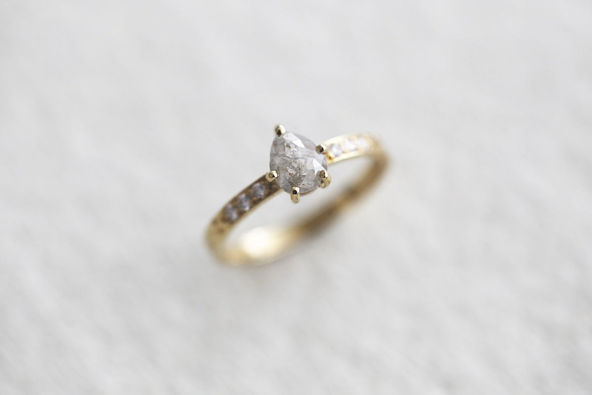 Image of 18ct gold, milky white pear rose-cut diamond ring IOW1482