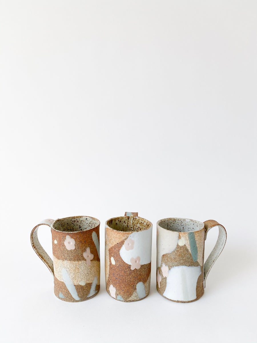 Image of Desert Sand, Peach Flowers and Sage Leaves - Tall Mug