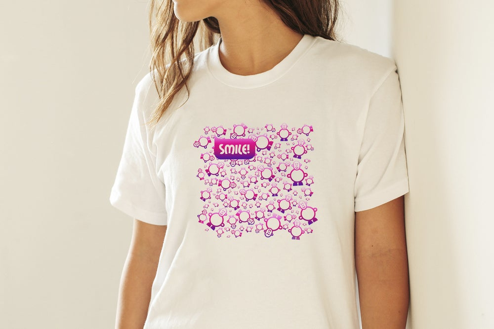 Womens Mr Smileyman Pink Pattern T-Shirt