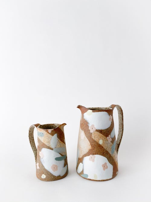 Image of Desert Sand, Peach Flowers and Sage Leaves - Medium Pitcher