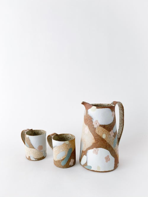 Image of Desert Sand, Peach Flowers and Sage Leaves - Large Pitcher
