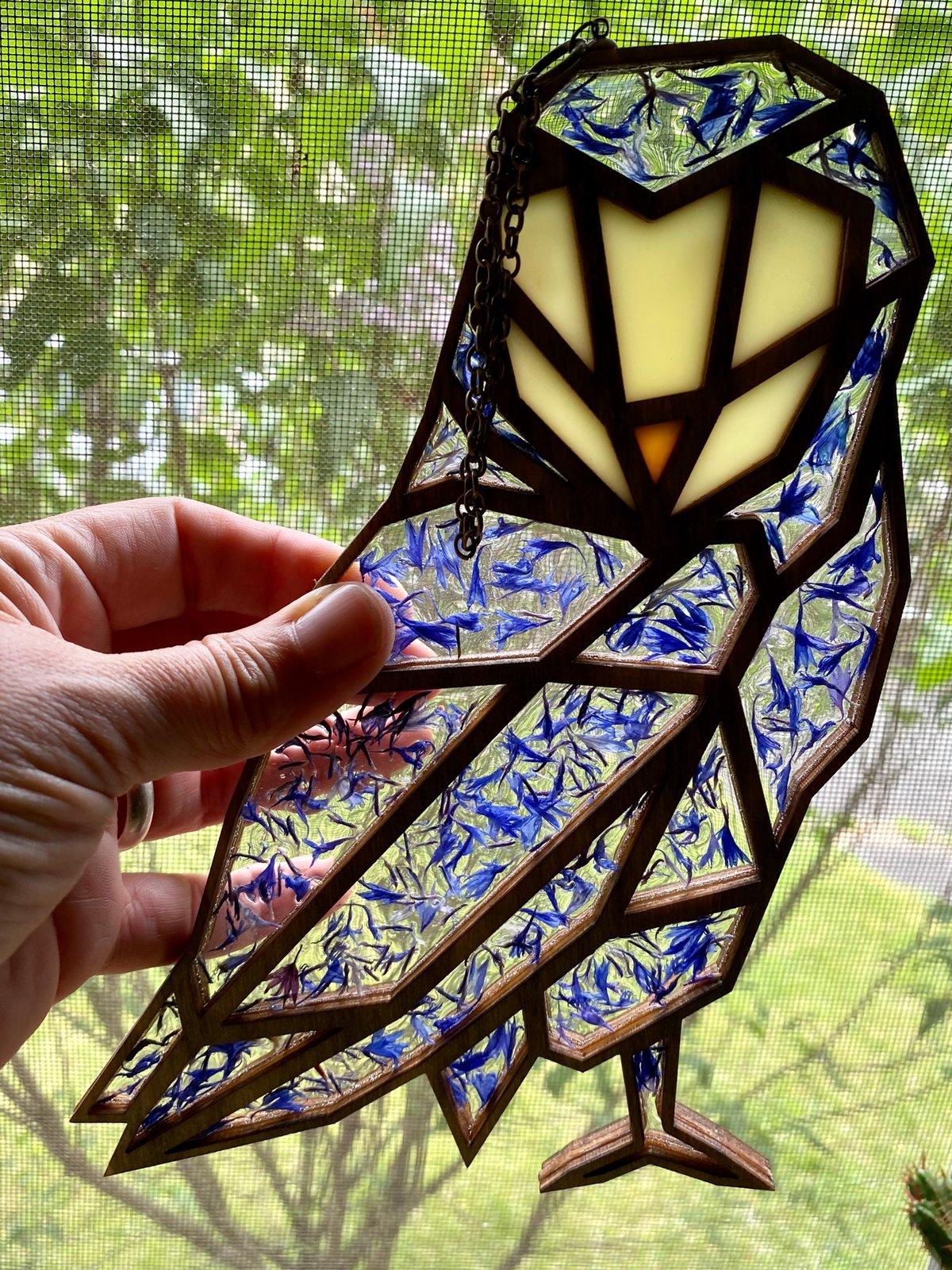 Image of Cornflower Owl Window Hanging