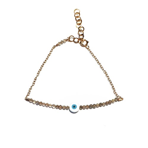 Image of Eye Bracelet Half Beaded Gemstone with Chain