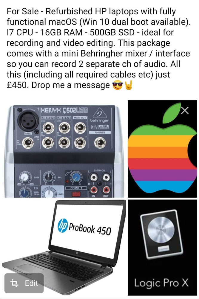Image of HP Hackintosh -macOS Mojave and Behringer Audio Interface bundle