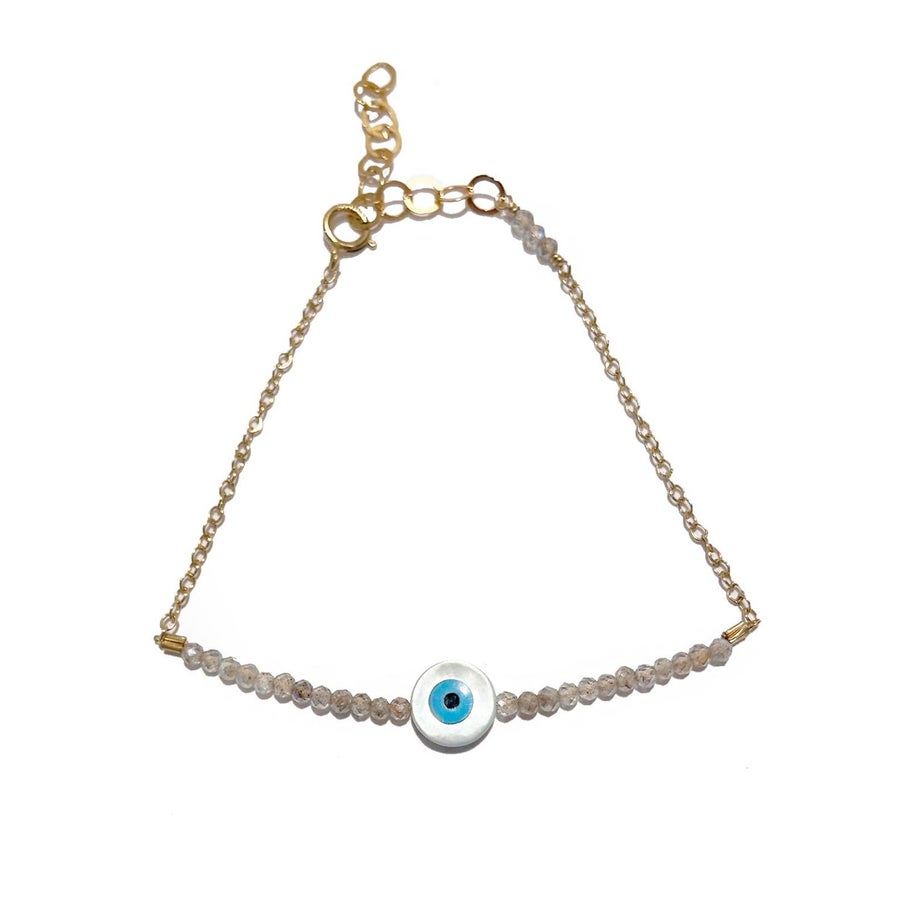 Image of Eye Bracelet Half Beaded Gemstone with Chain
