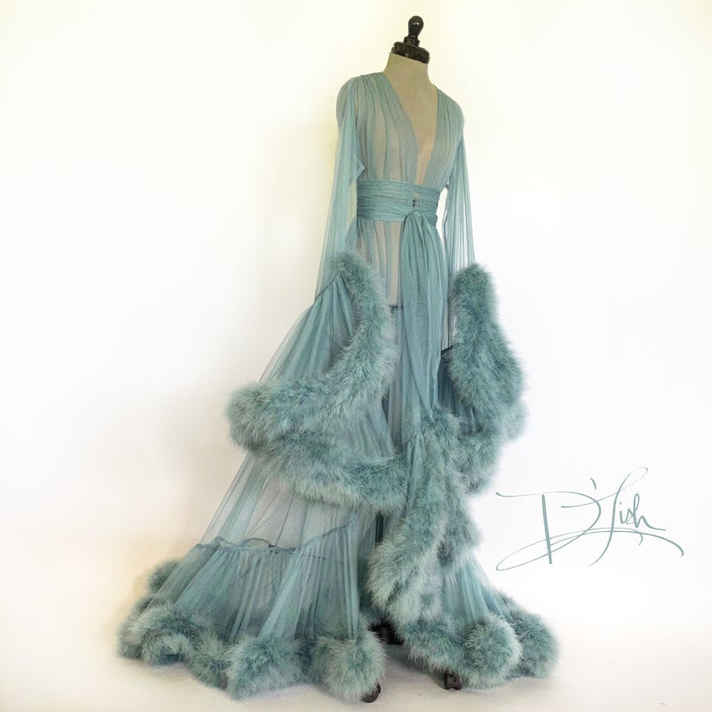 "Image of Blue Slate Deluxe ""Cassandra"" Dressing Gown"
