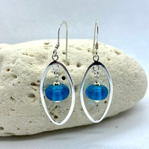 Image of Transparent Turquoise Oval Frame Earrings