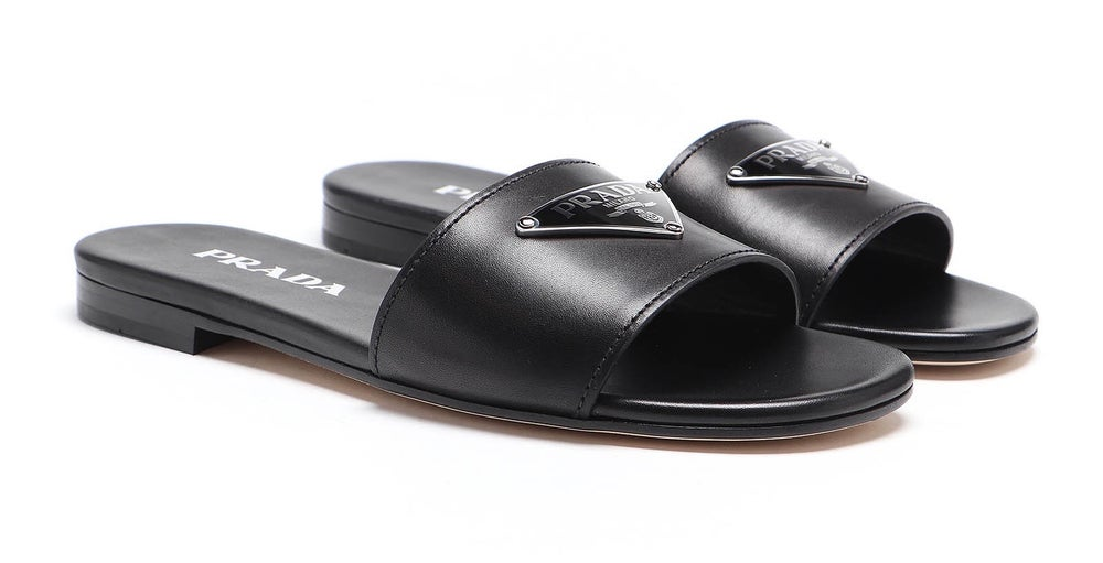 Image of Prada Black Logo Leather Flat Sandals