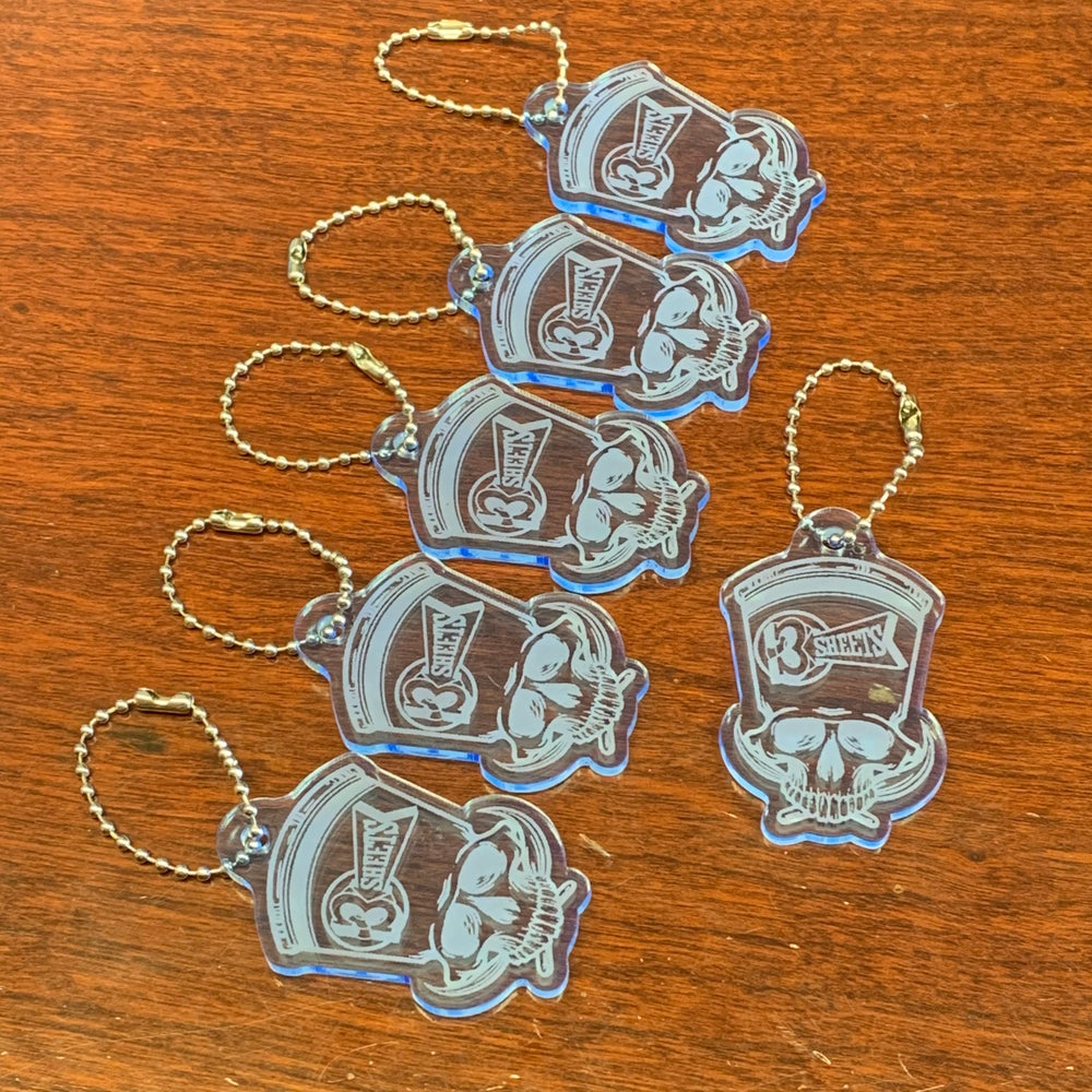 1-Shot Skull 3S Fluorescent Blue Acrylic Key Chain
