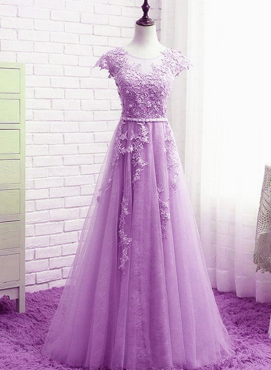 Beautiful Light Purple Tulle Cap Sleeves Party Dress, A-line Long Prom Dress