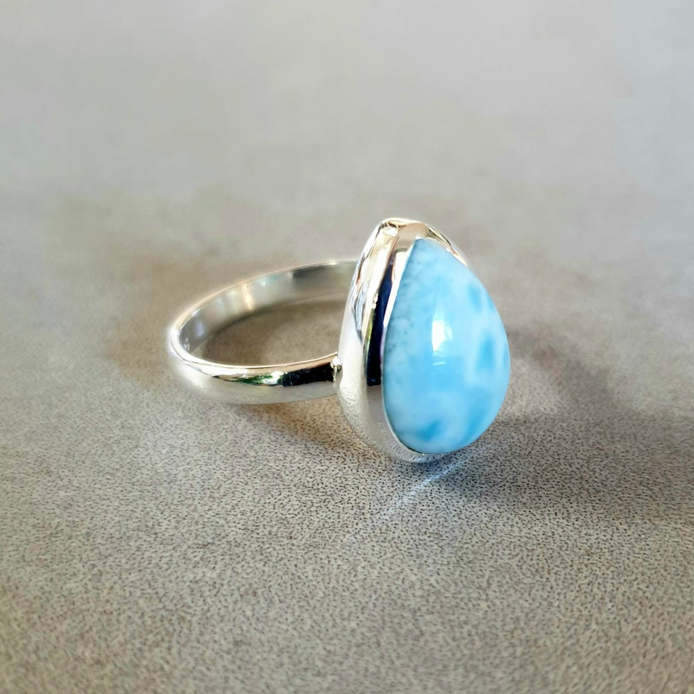Image of LARIMAR Sterling Silver Tear Drop Ring
