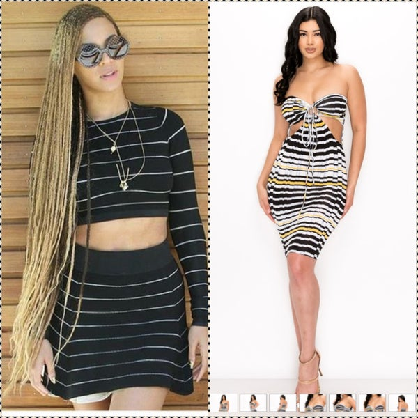 Image of black and white striped dress