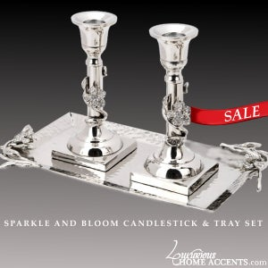 Image of Sparkle and Bloom Candlestick & Tray Set