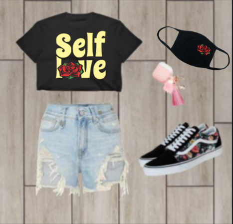 Image of Self Love  Crop Top with mask
